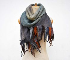 fringe long scarf angora wool felt dreads hand dayed ombre pure soft