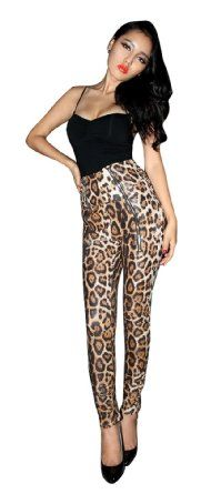 Pinup High Wasit Zip Front Snake Skin Leopard Tight Skinny Pants