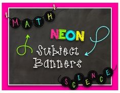 These are fun Neon Chalkboard themed banners that you can use in your classroom!Simply Print these out and use them to decorate bulletin boards or string them up to make banners in your classroom!**Don't see a subject title you need?  Simply email me at teannadosch@gmail.com and I would be happy to add your heading to this product and notify you when the update has been made.