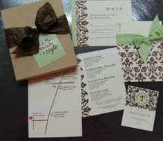 DIY Wedding Invitations Packages :  wedding brown diy green invitations ivory DSC 0077