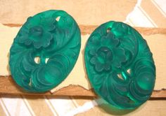 Plastic Cabochons  Matte Green  Carved Resin by beadbarnsupplies, $2.00