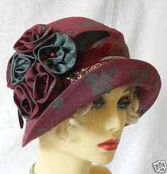 1920s Vintage Inspired Dark Red Brocade Cloche Hat Flapper Great Gatsby Downton | eBay