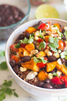 Vegetarian Sweet Potato & Black Bean Burrito Bowl