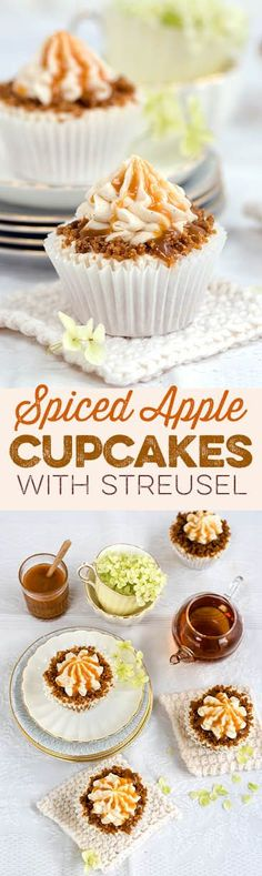 Heavenly spiced apple cupcakes with apple buttercream and streusel topping                                                                                                                                                                                 More