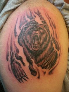 Not only dogs, cats but also other wild mammals can be seen as popular animal tattoo ideas. Below, we are going to mention angry bear tattoo designs and ideas. Tribal Tattoo Designs, Tribal Tattoos, Grizzly Bear Tattoos, Grizzly Bears, Tattoo Drawings, I Tattoo, Tattoos For Women, Tattoos For Guys, Angry Bear