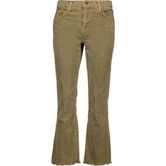 Current/Elliott - The Kick Cropped Mid-rise Corduroy Flared Jeans ($94) ❤ liked on Polyvore featuring jeans, sage green, american jeans, flared cropped jeans, current elliott jeans, button-fly jeans and 5 pocket corduroy jeans