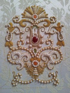 Pearl and bead embroidery. Zardosi Embroidery, Pearl Embroidery, Tambour Embroidery, Bead Embroidery Patterns, Couture Embroidery, Silk Ribbon Embroidery, Hand Embroidery Designs, Couture Embellishment, Tambour Beading