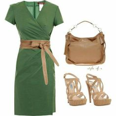 Green and tan from fashionista trends Fashionista Trends, Workwear Fashion, Work Fashion, Fashion Fashion, Mode Outfits, Fashion Outfits, Womens Fashion, Fashion Blogs, Fashion Trends