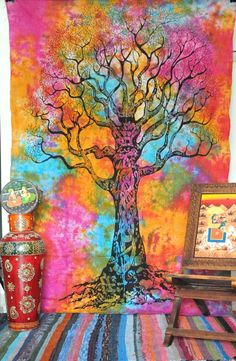 Twin Tree Of Life - Tie Dye staggering Indian Tapestry Throw Bedspread, Hippie Tapestries Dorm Tapestry Sheet