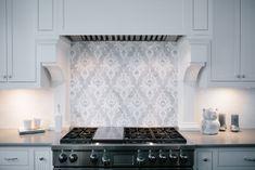 Behind Stove Backsplash, Grey Backsplash, Kitchen Backsplash, Backsplash Ideas, Stainless Steel Range Hood, Home Decor Kitchen, Kitchen Ideas, Kitchen Designs, Kitchen Hoods