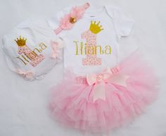 First birthday girl outfitPink gold first birthday1st