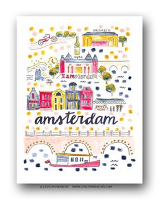 Amsterdam Map Print by Evelyn Henson