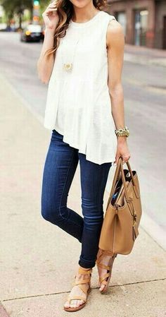 Day Outfit | Cream lace top, Blue Jeans, Light brown sandals