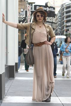 natural neutrals - I like the knot at the bottom of the skirt, clever asymmetry - Berkeley, CA Elle Summer 2013