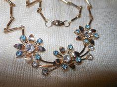 Vintage 1950s Gold Tone Blue & Clear Prong Set Foil Back Rhinestone FLORAL DESIGN Rectangular Link Necklace by cherylsvintagebling. Explore more products on http://cherylsvintagebling.etsy.com