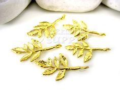 5 pc Branch Leaf Charms Matte 22K Gold Plated por turkisheyesupply