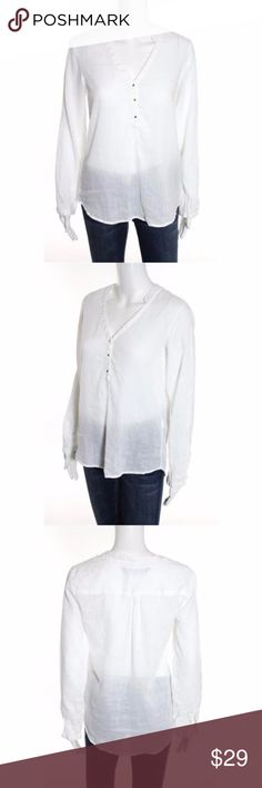 """ZARA BASIC White Cotton Pullover Tunic Top ZARA BASIC WHITE COTTON PULL OVER LONG SLEEVE V NECK BLOUSE SIZE EXTRA SMALL. Great top for casual wear or for office wear under your favorite Blazer.  Excellent Condition. (1223-B6) Material:100% Cotton  Total Length:21"""" Bust:34"""" Sleeve Length:23"""" Zara Tops Tunics"""
