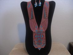 Loom Woven Necklace and Earrings No 024 by AZJOLEEBEADWEAVER