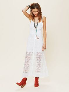 Free People Prairie Mesh Dress with my red frye boots...cute!