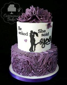 Engagement Silhouette Ruffle Cake