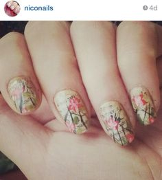 Flowers on newspaper print nails