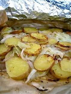grilled cabbage, onions, potatoes and cheese - yuuuummmyyy