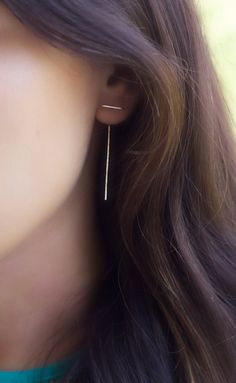 double sided earring, front back earrings, staple earring, minimalist, line…