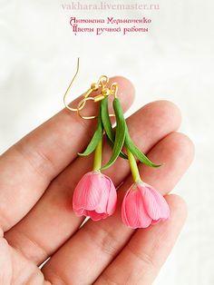 """Купить Серьги """"Тюльпаны"""" - розовый, тюльпаны, розовые тюльпаны, серьги, серьги длинные, Серьги-висюльки"""