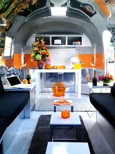 Luxe Lounge is an old restored Airstream Globetrotter from 1961, designed to be used as a multifunctional space.