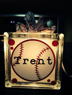 Glass Block with interior lights and ribbon.  Choice of painted or custom vinyl custom name baseball sports design.