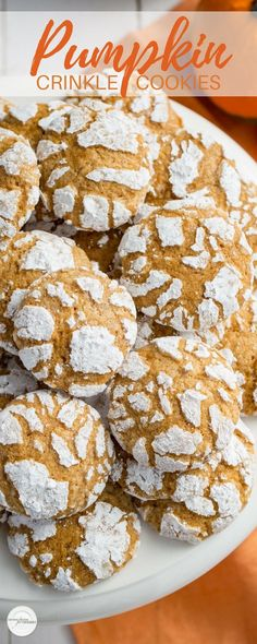 Pumpkin Crinkle Cookies, Crinkle Cookies ~ soft and sweet, with plenty of pumpkin flavor and pumpkin pie spice, these easy to make cookies are the perfect fall bite! Crinkle Cookies, Cookies Soft, Fall Cookies, Baking Recipes, Cookie Recipes, Dessert Recipes, Fall Desserts, Just Desserts, Pumpkin Recipes