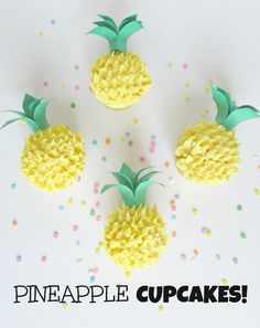 Pineapple Cupcakes! Perfect for a summer party with coconut buttercream frosting -Val Event Gal
