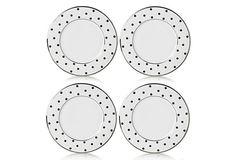 S/4 Dots Accent Plates, Black/White on OneKingsLane.com