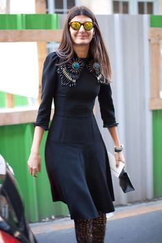 STREET STYLE SPRING 2013: PARIS FASHION WEEK - Giovanna Battaglia makes black super interesting.