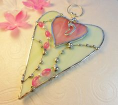 Lovely Mint Green and Pink Heart by jacquiesummer on Etsy, $17.00