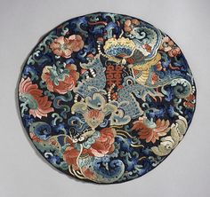 Japanese Embroidery Fish Roundel with Fish, Double Happiness Character, Butterflies and Flowers China, Late Qing dynasty, Textiles; roundels Silk embroidery on silk satin Diameter: 12 in. cm) Gift of Miss Bella Mabury - Chinese Embroidery, Embroidery Art, Embroidery Patterns, Sashiko Embroidery, Chinese Painting, Chinese Art, Chinese Patterns, Qing Dynasty, Japanese Prints