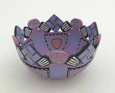 My colors - Love it.  3-93 - Medium bowl, 1 3/4 inches tall x 3 1/4 inches diameter by Emily Squires Levine