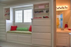 built-in dresser Pine Bedroom, Bedroom Windows, Toddler Rooms, Kids Rooms, Bedroom Layouts, Bedroom Ideas, Built In Dresser, Attic Spaces, Reading Nooks