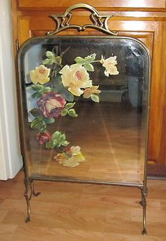 Exquisite old vintage french hand painted fireplace screen with pink antique victorian mirrored fireplace screen original hand painted floral teraionfo
