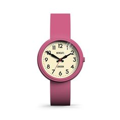 The Electric watch in Piglet Pink by Newgate Watches. A fun retro inspired watch with an iconic mid-century style dial. The quirky case is paired with matching colourful silicone strap. See the full collection of iconic British timepieces at  www.newgatewatches.com.