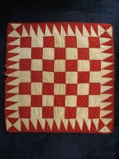 Antique Doll Quilt Red Checker Design 19th C | eBay