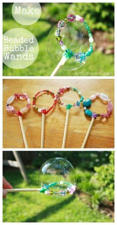 How to Make Beautiful DIY Bubble Wands with Beads (That Work Great!) DIY Bubble Wands with Beads<br> These DIY bubble wands made with pipecleaners and beads are a fun kids craft project. Plus the finished bubble wands are beautiful and work great! Craft Projects For Kids, Fun Crafts For Kids, Summer Crafts, Diy For Kids, Craft Ideas, Beach Crafts, Creative Crafts, Garden Projects, Holiday Crafts