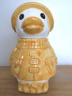 Cookie Jar Duck In Yellow Raincoat And Hat Cap Ceramic | eBay