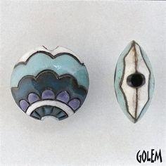 Paisley Waves, Shades Of Blue Paisley Waves, Lentil Beads, Paisley Lentil Bead, Round Lentil Ceramic Pendant Bead, Golem Design Studio Beads by JasmineTeaDesigns on Etsy