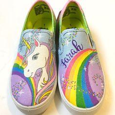 unicorn shoes - unicorn gift - unicorn birthday party - unicorn rainbow birthday - rainbow shoes - p Painted Canvas Shoes, Custom Painted Shoes, Hand Painted Shoes, Custom Shoes, Painted Toms, Fancy Shoes, Slip On Shoes, Bling Shoes, Kid Shoes