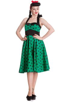 Green Polka Dot Adelaide 50's Dress by Hell Bunny