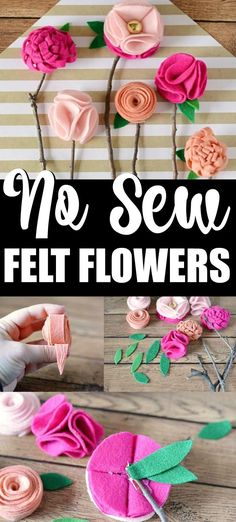 These DIY no sew felt flowers are the perfect homemade Mother's Day gift – and the best part is, is that they'll never wilt or die! Felt Crafts Diy, Felt Diy, Diy Crafts For Kids, Fabric Crafts, Fall Crafts, Craft Ideas, Flower Crafts, Diy Flowers, Fabric Flowers