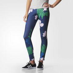 Floral Engraving Leggings - Blue