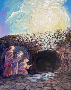 Original painting by Resurrection artist of the angel appearing to the women at the empty grave. (Image copyright: Church of the Resurrrection) La Résurrection Du Christ, Easter Vigil, Community Art, Empty, Art Projects, Original Paintings, Angel, Artist, Crafts