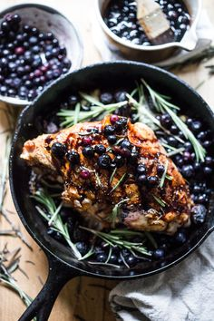 A delicious recipe for Roasted Turkey Breast with Blueberry Balsamic Glaze with whole grain mustard, dried figs, roasted blueberries and fresh rosemary sprigs.